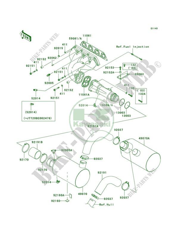 Mufflers Jt1200 B2 Stx 12f 2004 1200 Jet Ski Kawasaki Moto