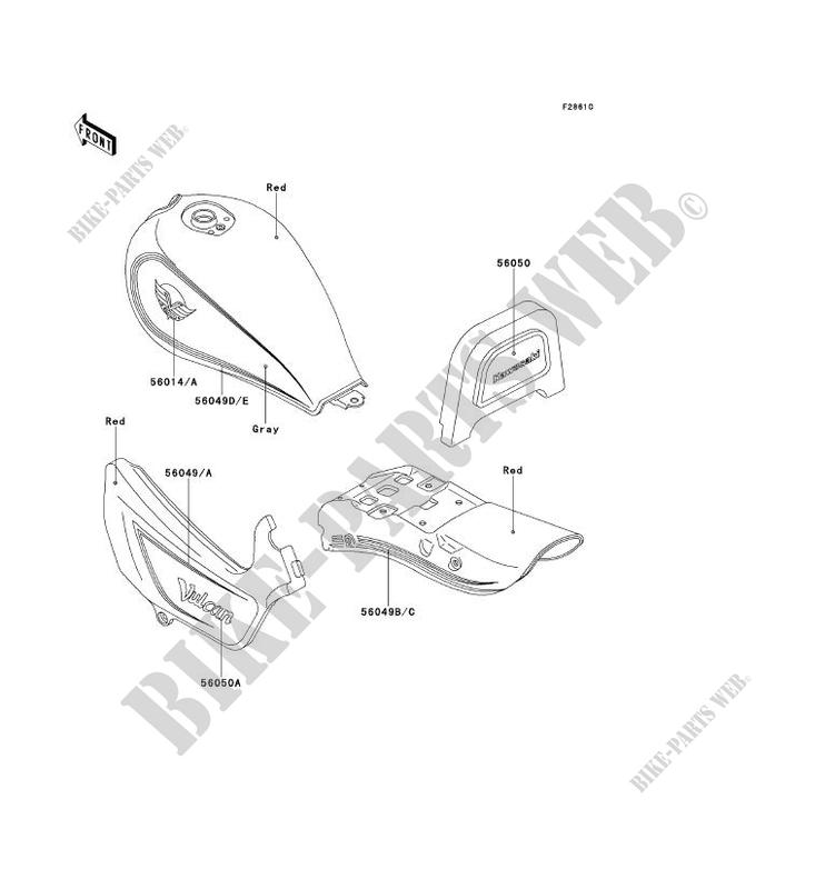 STICKER(RED/GRAY) pour Kawasaki EN500 1992