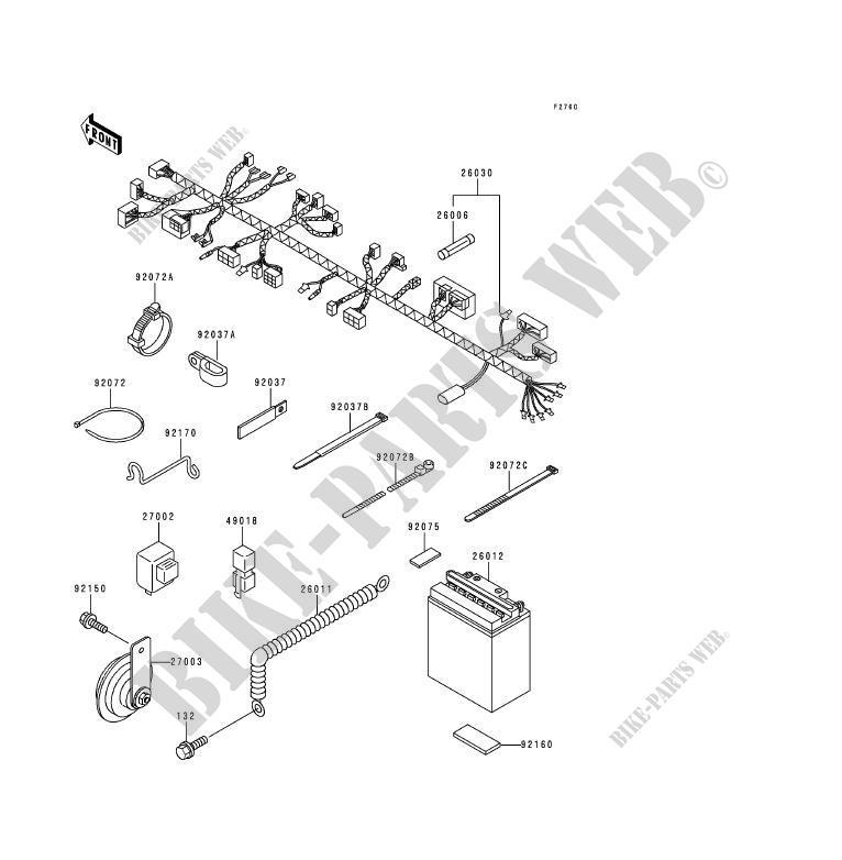 chassis equipment electrique kdx125 b6 kdx125sr 1999 125