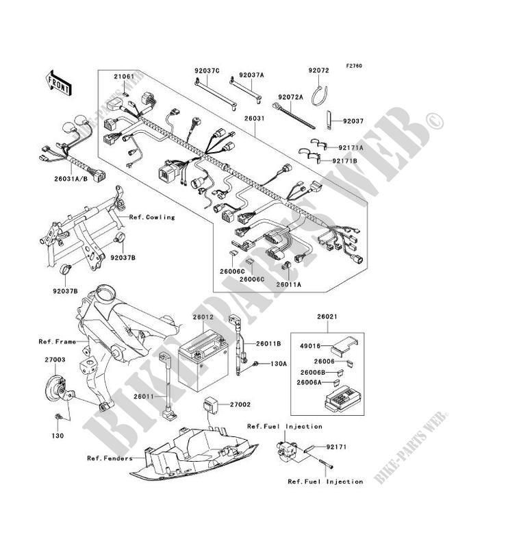 chassis equipment electrique kawasaki z750s 2005 750 zr750