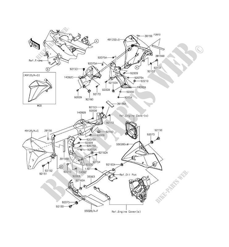 Carenage Inferieur Zr800aff Z800 2015 800 Motos Kawasaki Moto