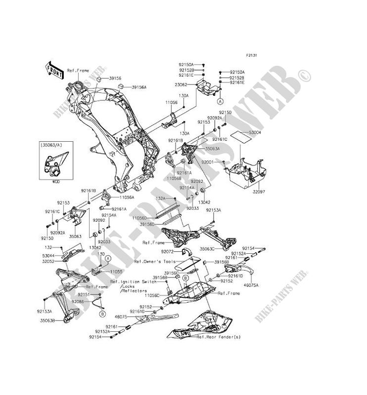 Piece De Cadre Couverture Zx1000mef Z1000sx Abs 2014 1000 Motos