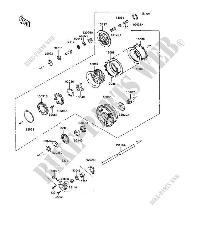 embrayage kawasaki zzr1100 1990 1100 zx1100 c1 14785 pices dtaches d 39 origine kawasaki. Black Bedroom Furniture Sets. Home Design Ideas