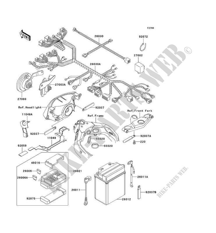 chassis equipment electrique kawasaki zzr1100 1995 1100
