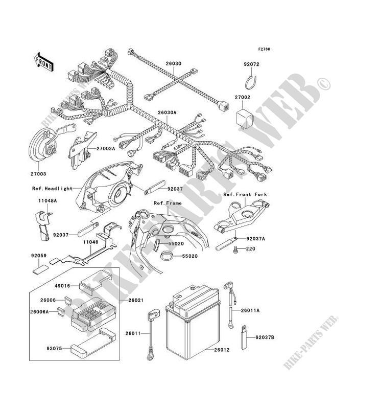 chassis equipment electrique kawasaki zzr1100 1996 1100