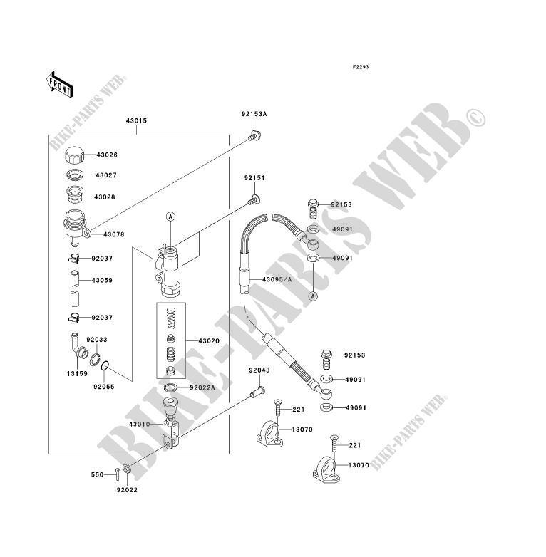 maitre cylindre arriere kx85a6f kx85 ii kx85 2006 85 tout terrain kawasaki moto kawasaki. Black Bedroom Furniture Sets. Home Design Ideas