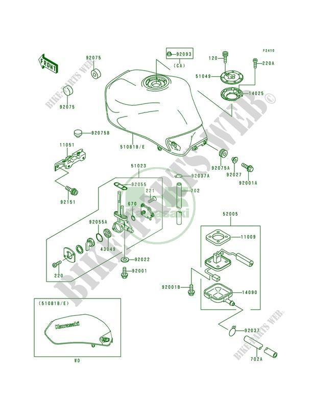 Fuel Tank Zr750 F2 Zr 7 2000 750 Motos Kawasaki Moto Kawasaki